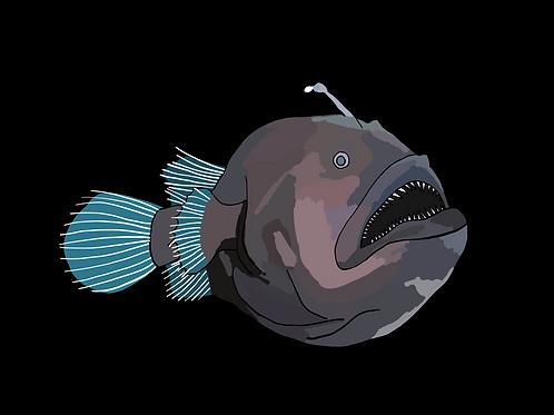 Angler Fish on Black Photo Block