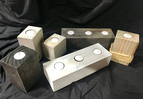 Wooden block candles