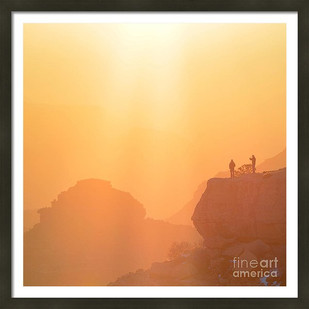 Hikers Bathed In Sunrise Sunrays