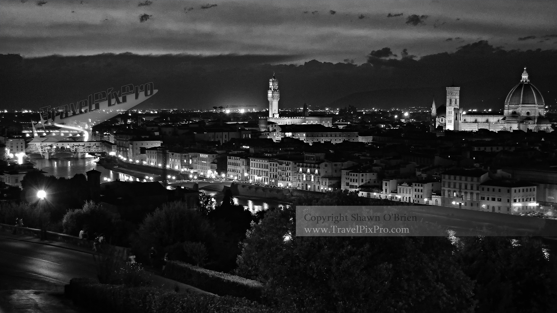 The Arno and Nighttime Florence