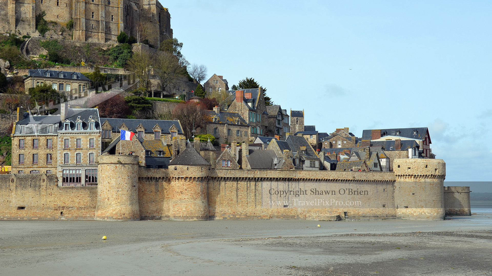 Village Below Mont St. Michel Abbey