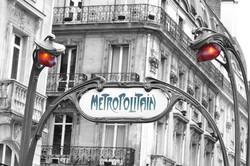 Paris Metro Sign Color Splash Black