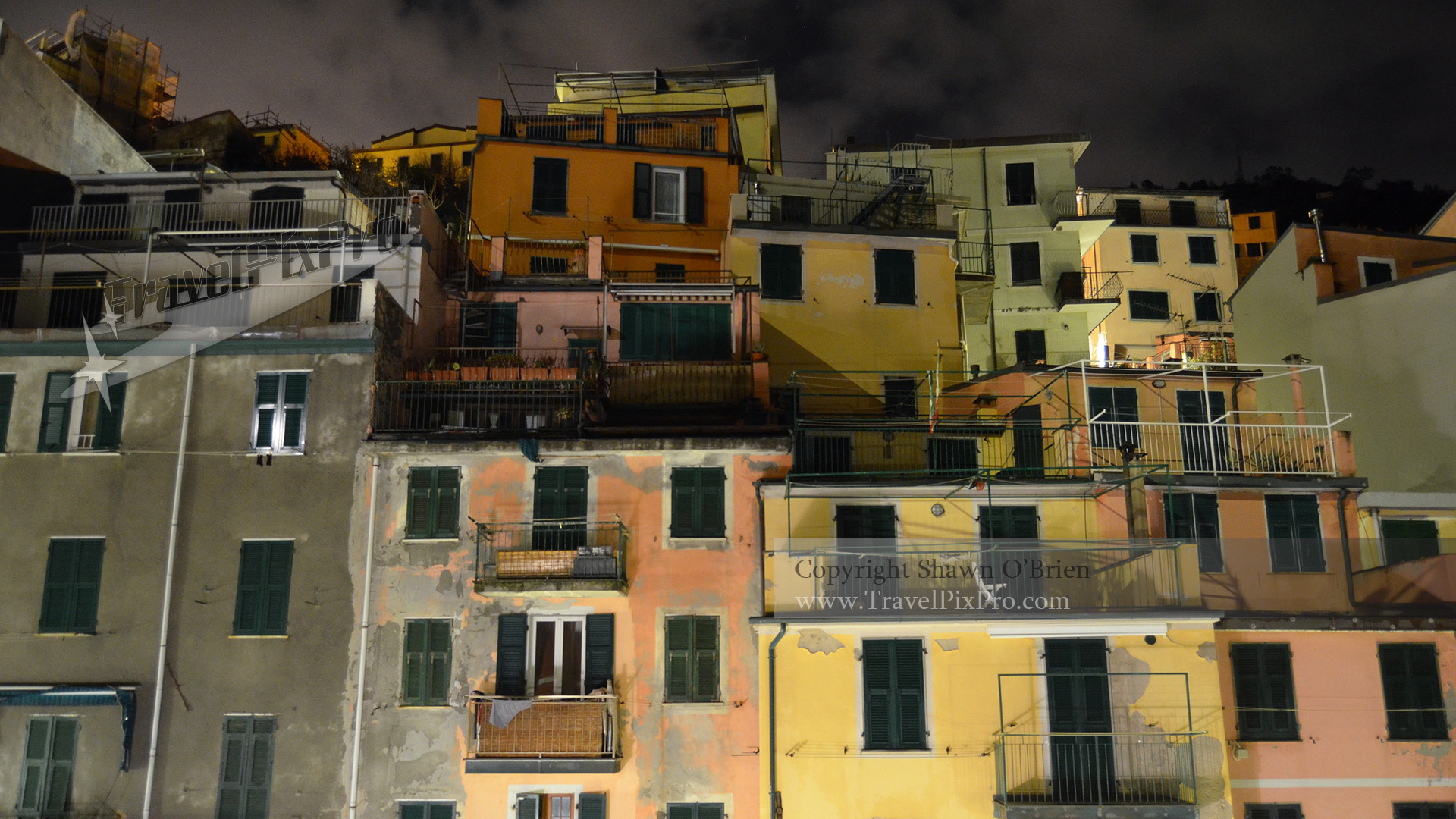 Riomaggiore Harbor Terraces at Night