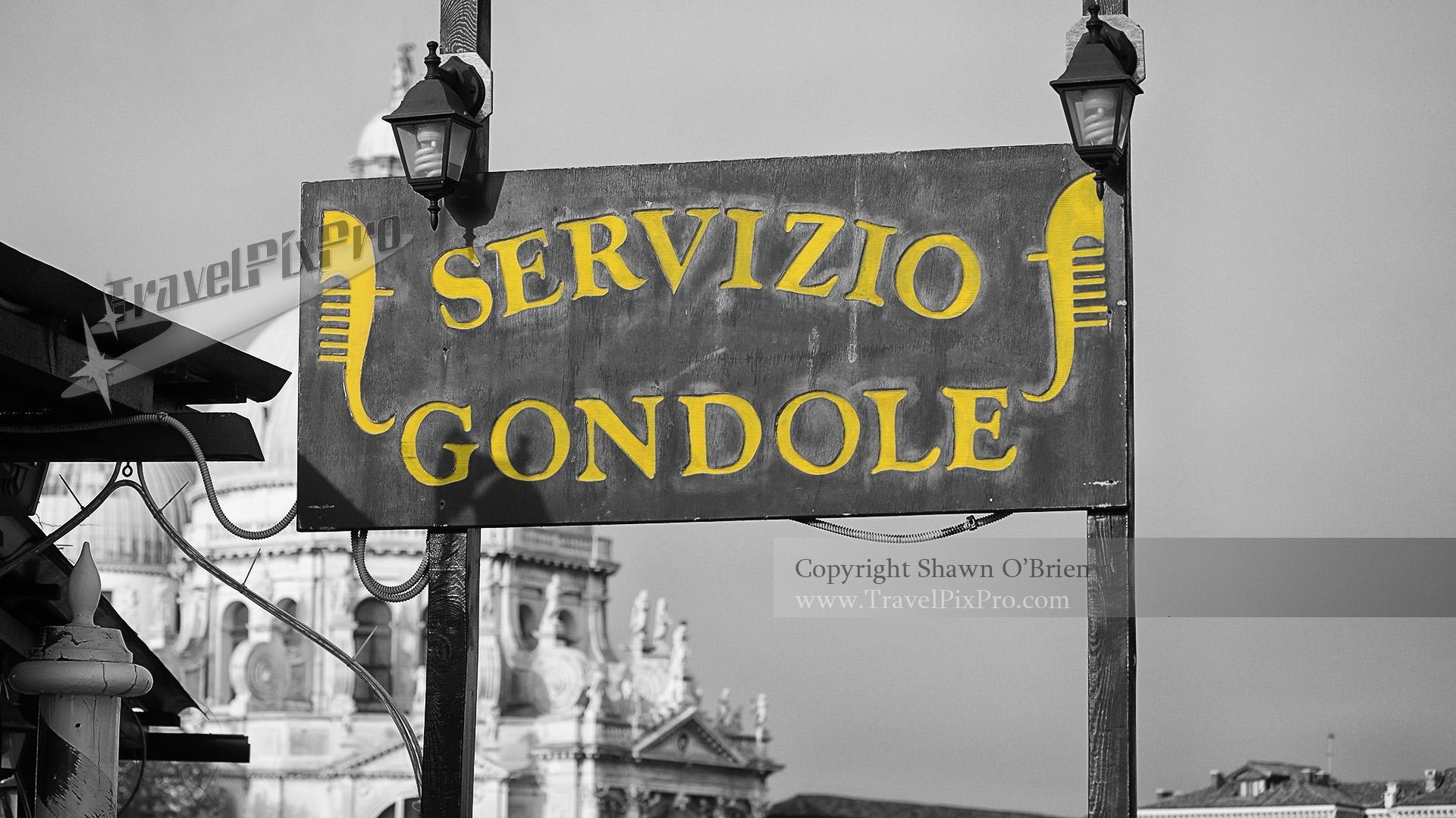 Gondola Sign Venice Italy