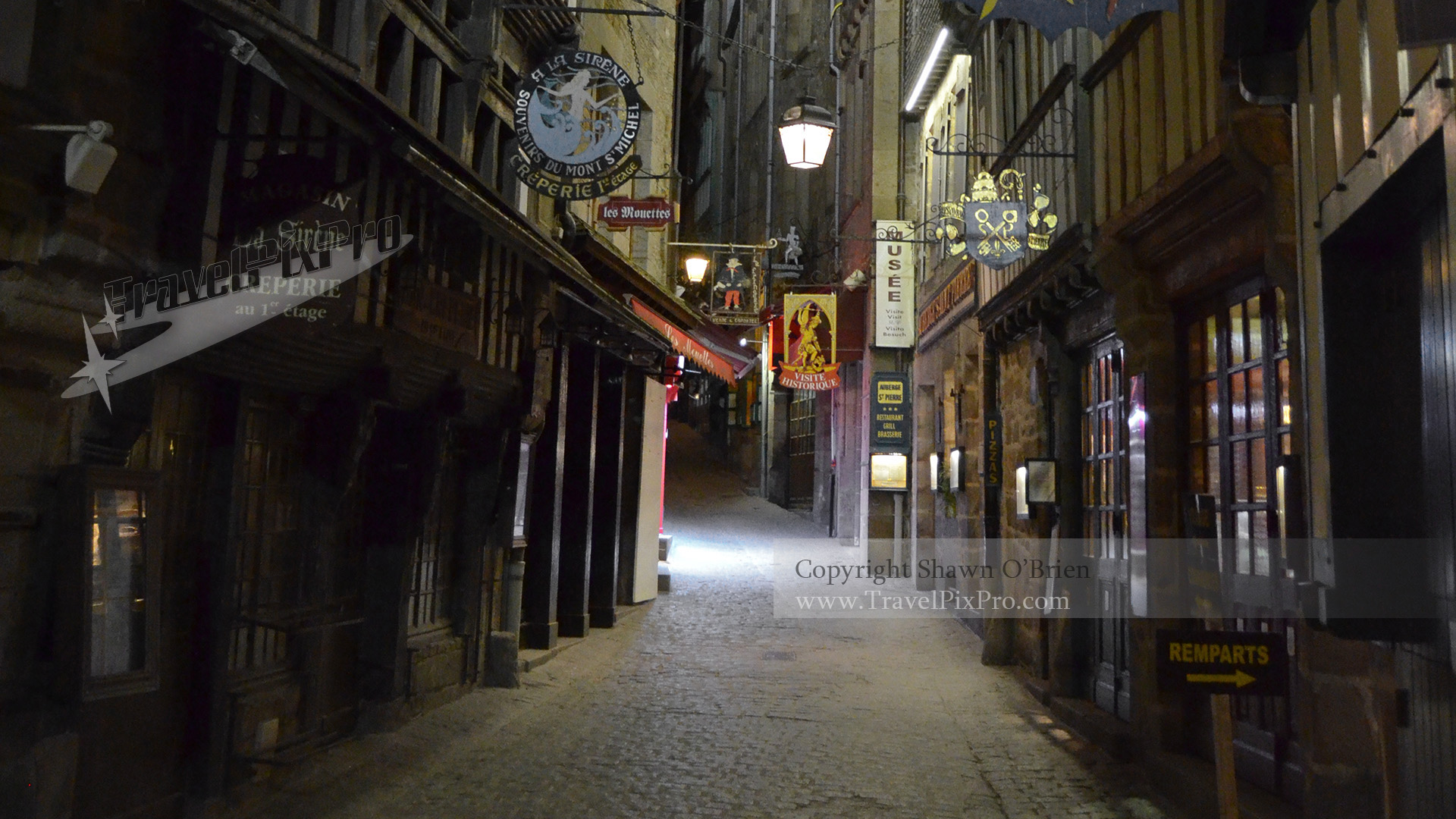 Night Street Scene Mont St Michel