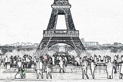 Trocadero Crowd Sketch Paris France