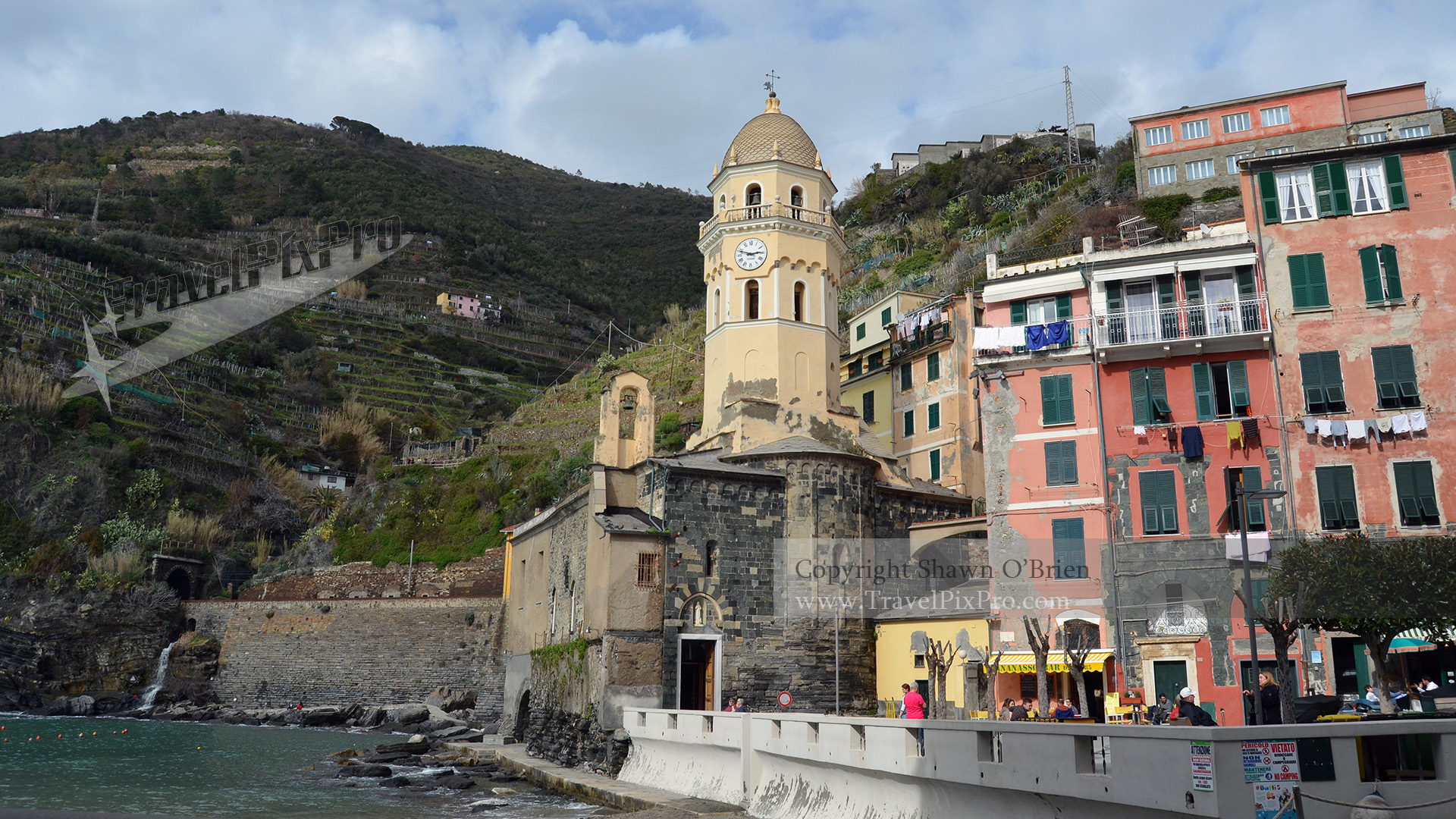 Vernazza Harbor and Church Scene