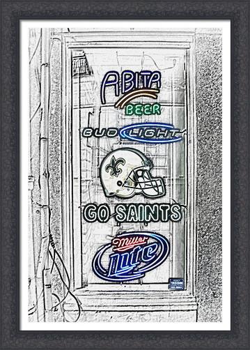 Go Saints and Neon Beer Signs Color Splash Sketch