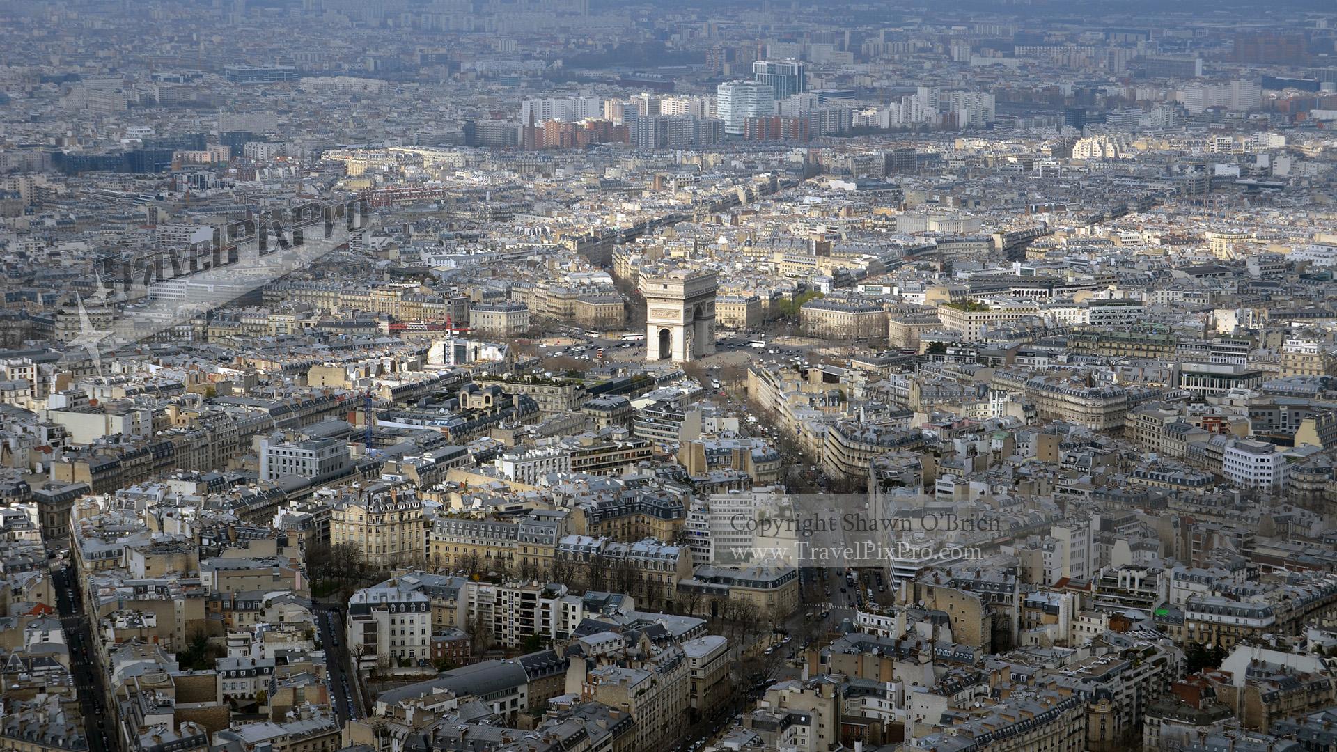 Above L'Arc de Triomphe Paris