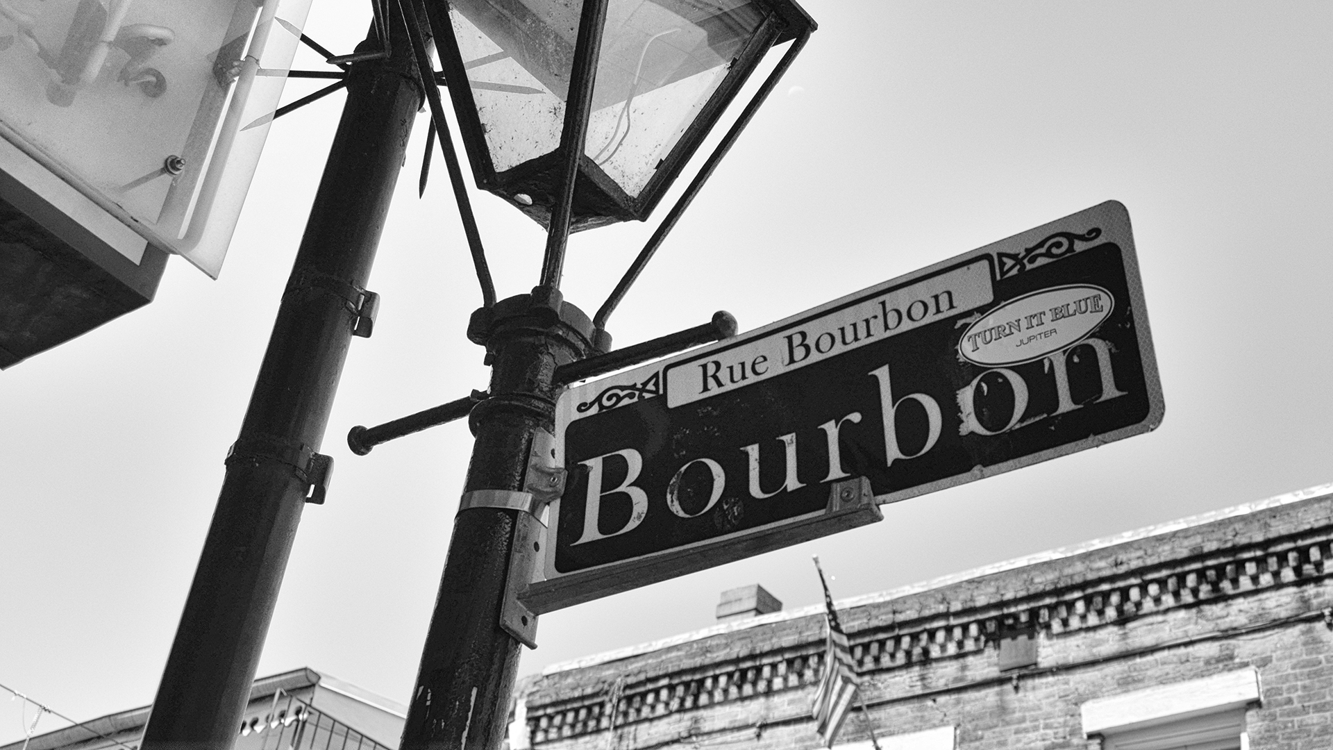 Bourbon Street Sign Black and White