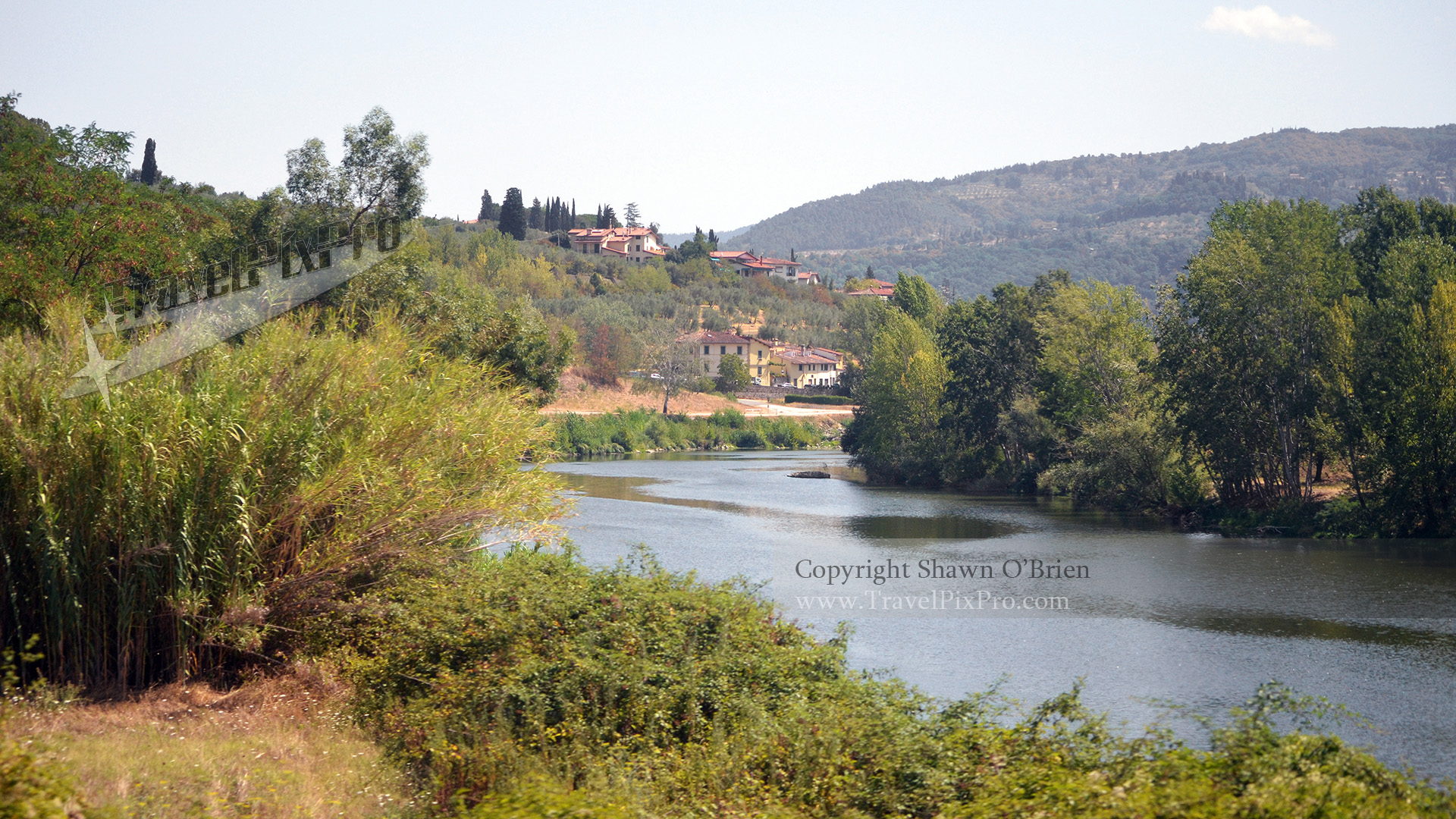 Italian River and Villa View