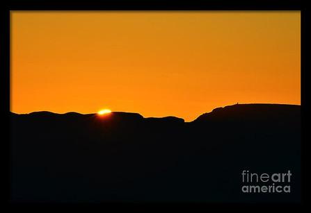 Orange Sky Sunrise Silhouetted Watchtower