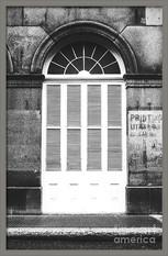 Shuttered Old Print Shop Window