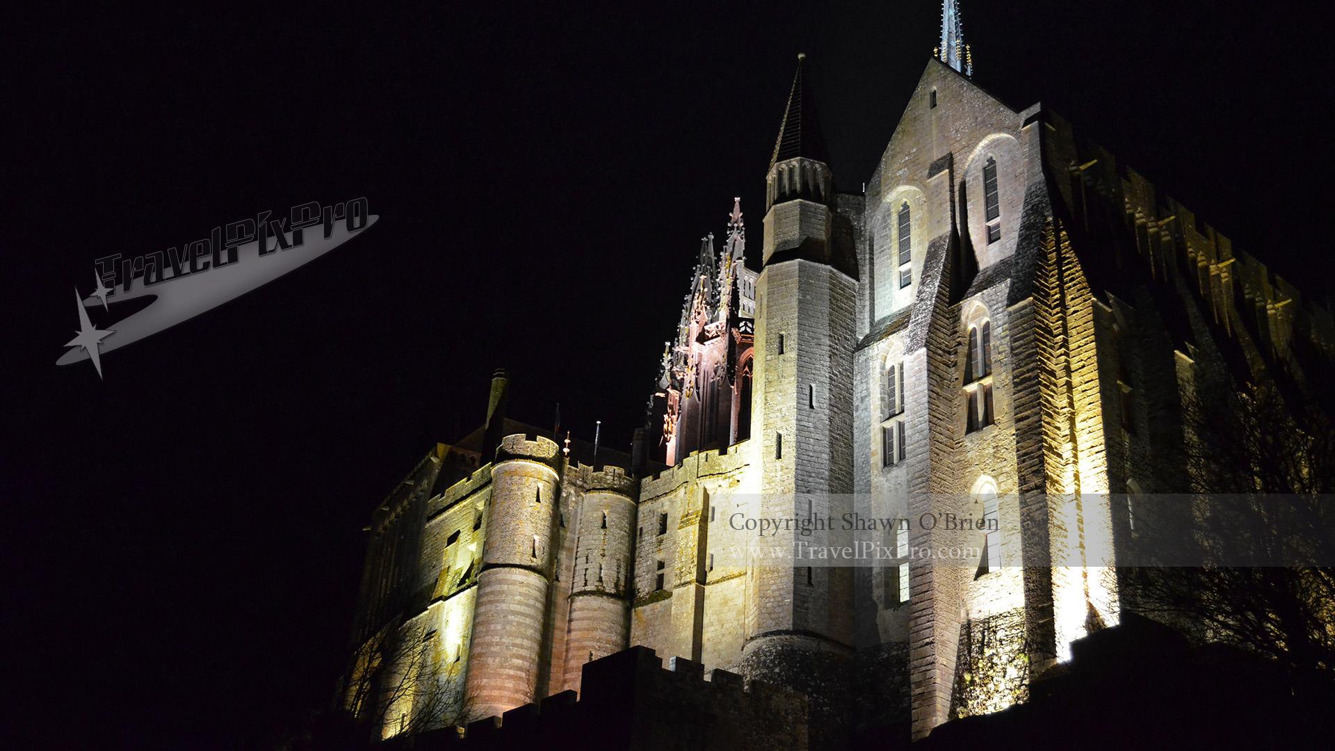Nighttime Facade Mont Saint Michel