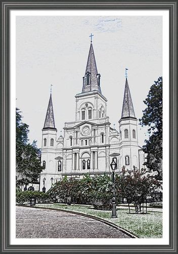 Saint Louis Cathedral Digital Sketch