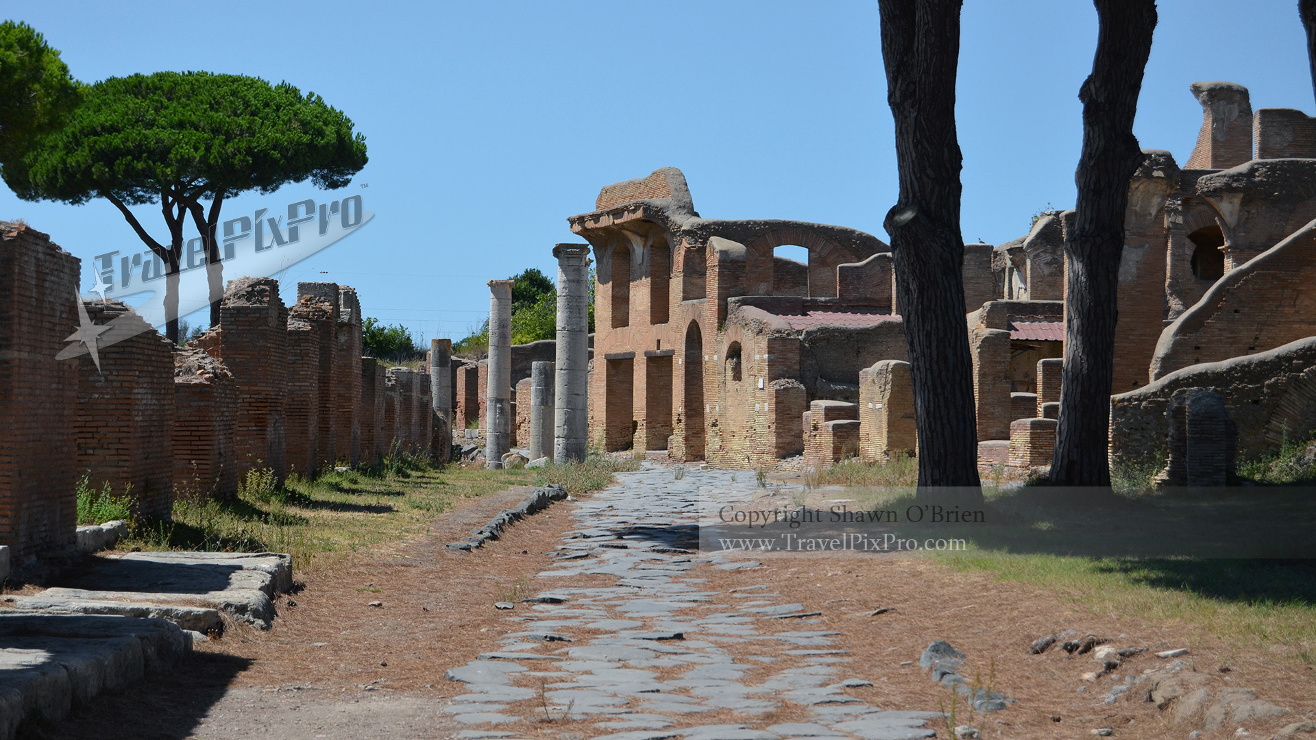 Ostia Antica Italy Road and Ruins