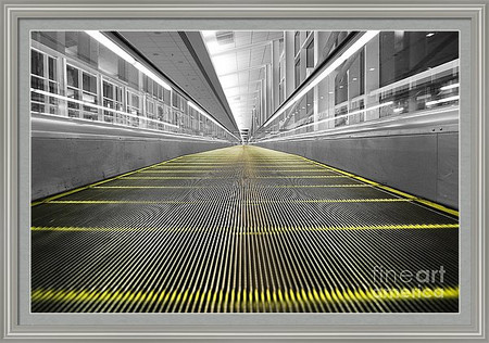 Empty Airport Moving Walkway
