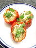 Low Carb Pesto Stuffed Bell Peppers