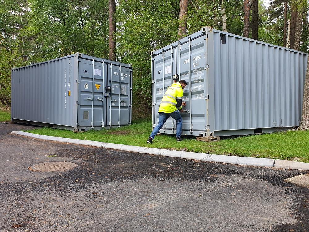 Container Willhemlyftet Göteborg Stamrenovering Byggbranschen Miljö Materialspill