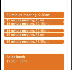 Melhor visualização nas reuniões curtas no Google Agenda
