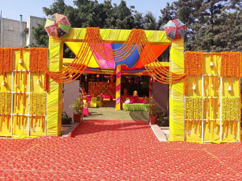 Wedding decor entrance view