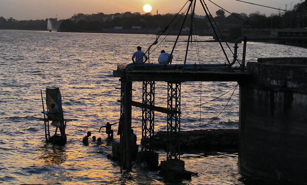 Fishing in lake Bhojtal