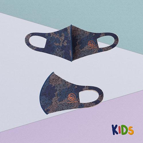 Cubrebocas para niño tejido de cobre (Azul militar)