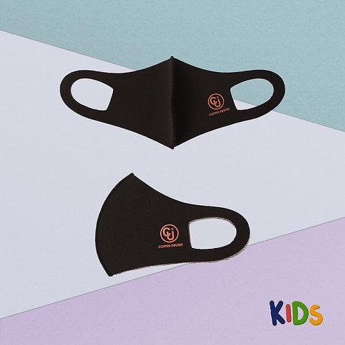 Cubrebocas para niño tejido de cobre (Negro)