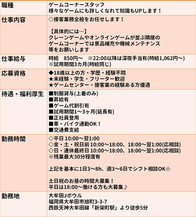 福岡県大牟田市旭町3丁目3−7にある大牟田Jゲームの募集しているアルバイトの募集要項です