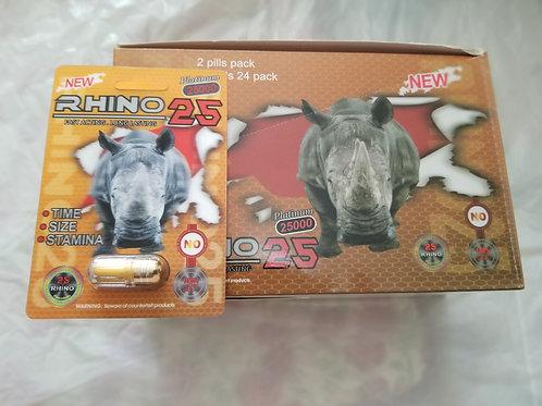 Rhino 25, 24 pills  Stamina size and time
