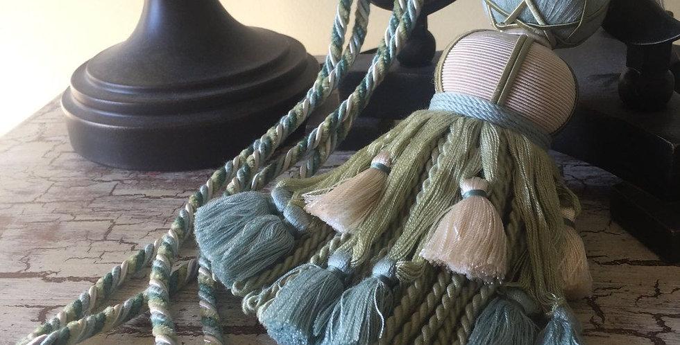 Aqua Blue and Green Drapery Tie Backs