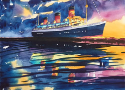 'Queen Mary at Night'
