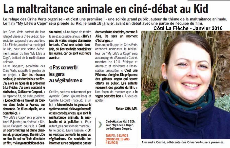 Article Côté La Flèche - Janvier 2016