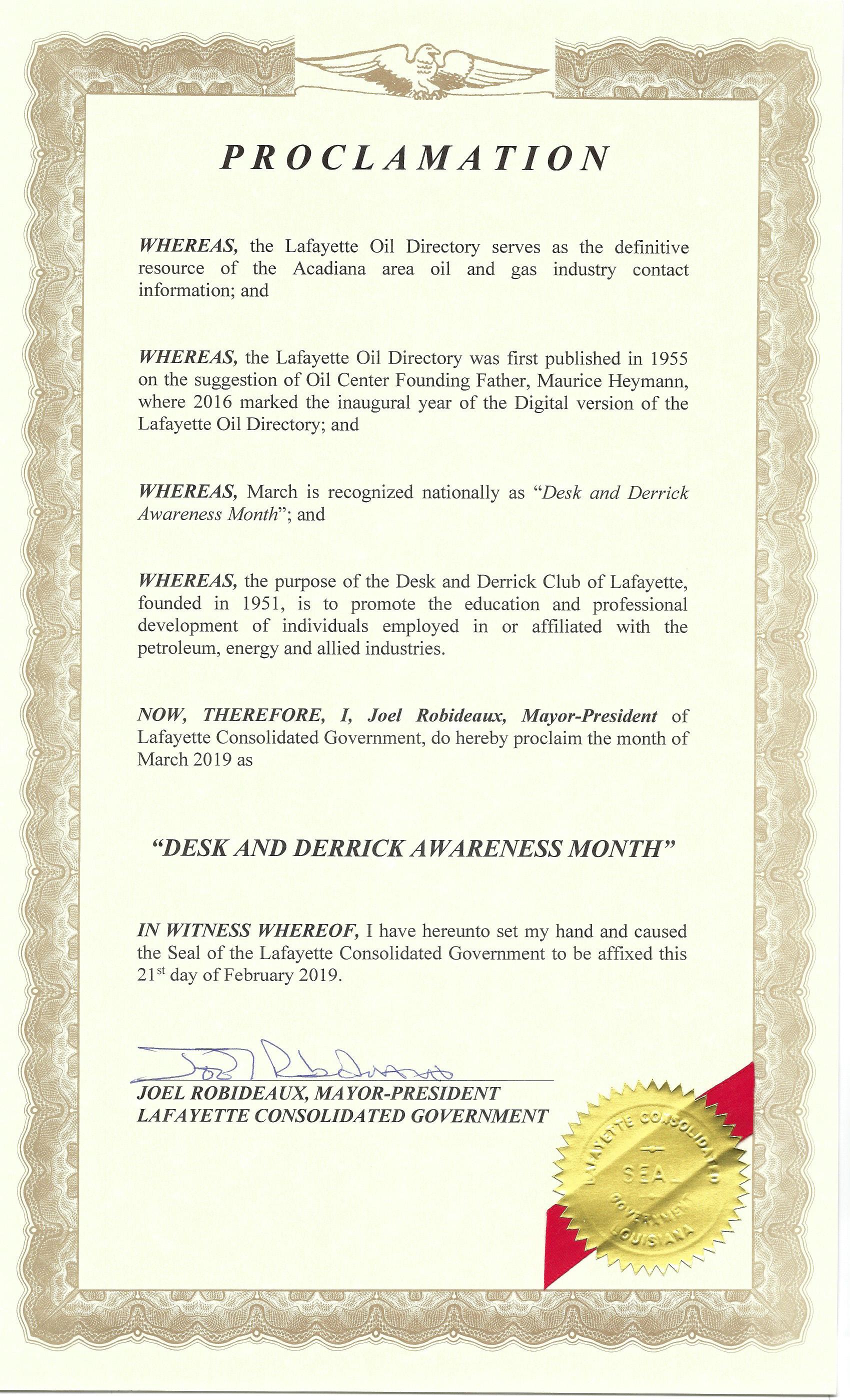 2019 Proclamation Certificarte