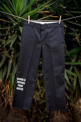 Black Flat-front Graphic Pant