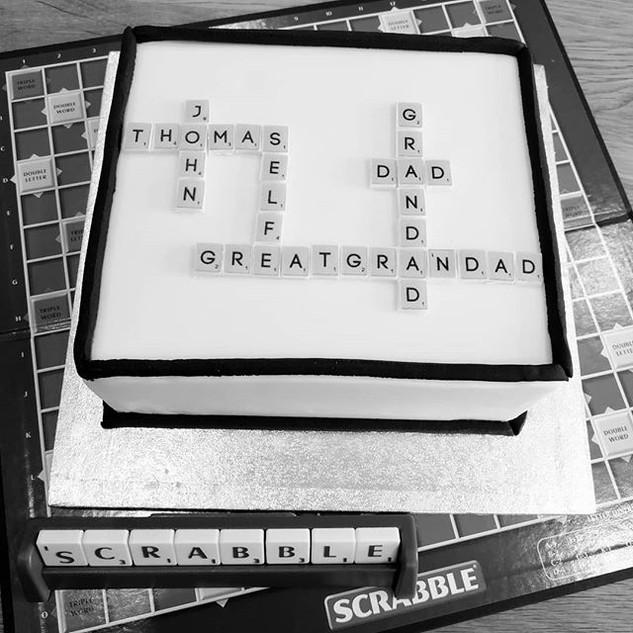 #Scrabble cake with individual edible ti