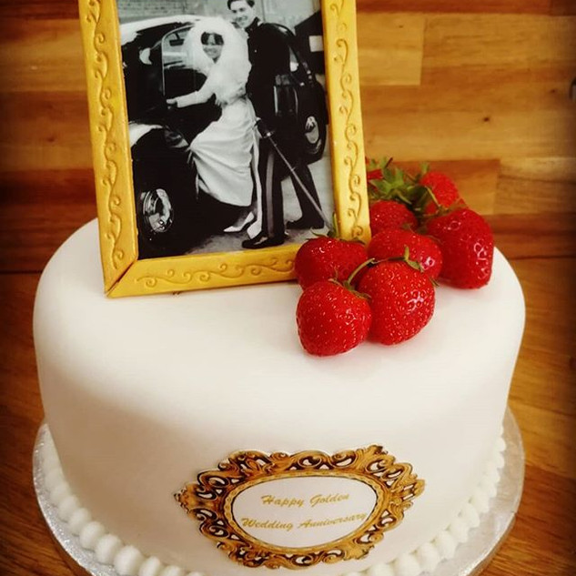 Golden Wedding Anniversary Prosecco Cake