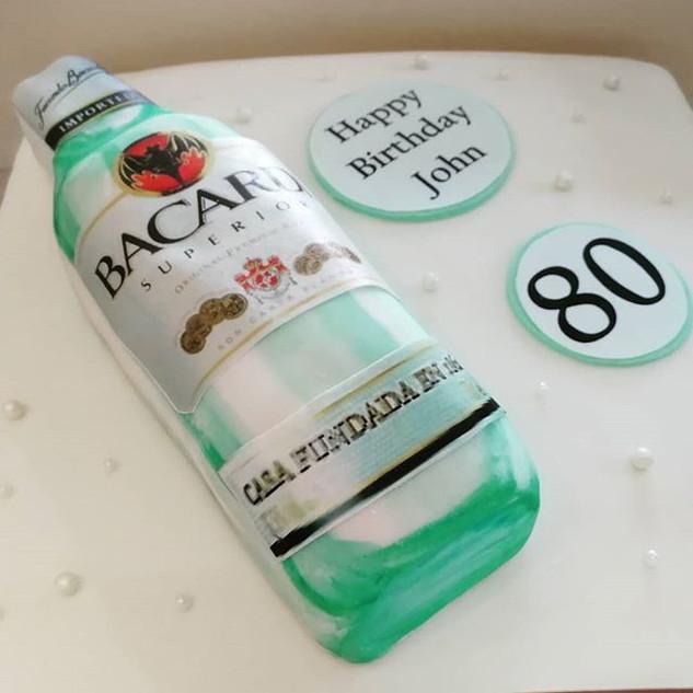 3D Bacardi Bottle Cake on a 12 inch Baca