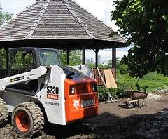 Bobocat outside Gazebo at SSC Arboretum during renovation 2011