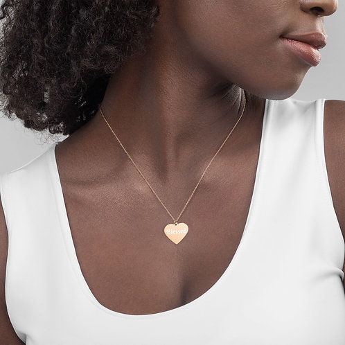 Her Children Call her Blessed Engraved Silver Heart Necklace