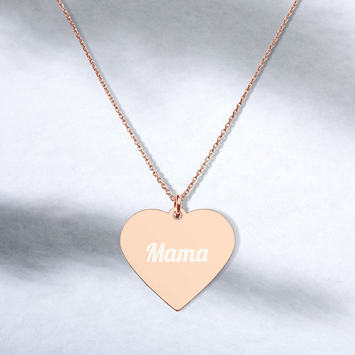 Mama Love Engraved Silver Heart Necklace