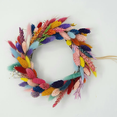 """22cm """"Paradise Wreath"""" - Bright Colourful Dried Stems and Grasses"""