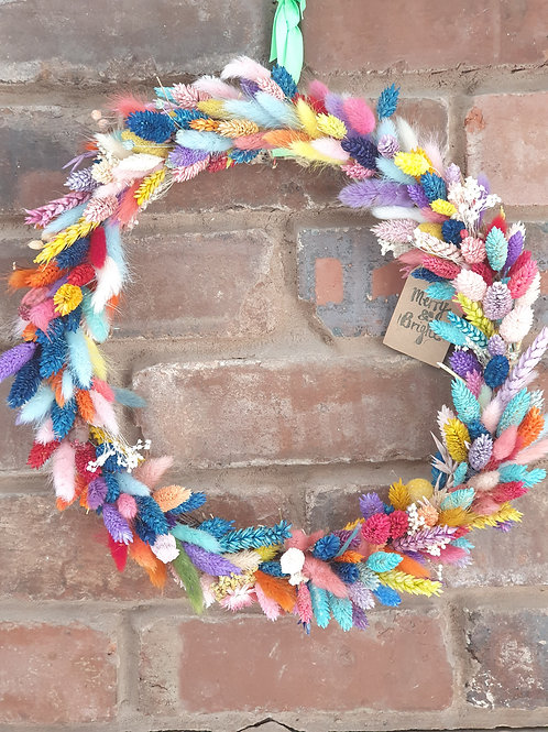 """35cm """"Paradise Wreath"""" - Bright Colourful Dried Stems and Grasses"""