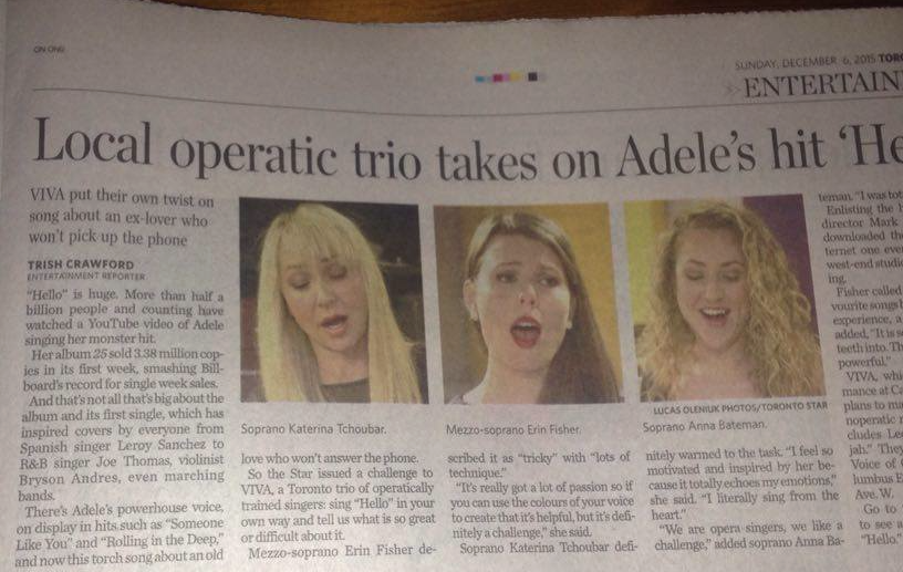 ViVA Trio featured in Toronto Star