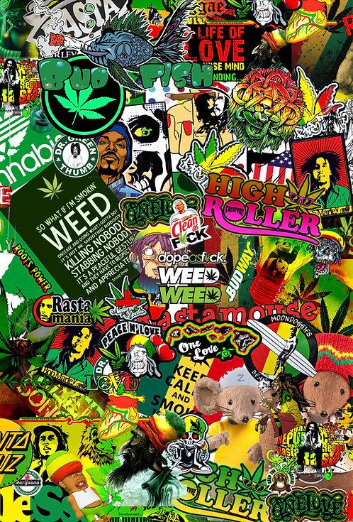 2 x Rasta Weed Sticker Bomb