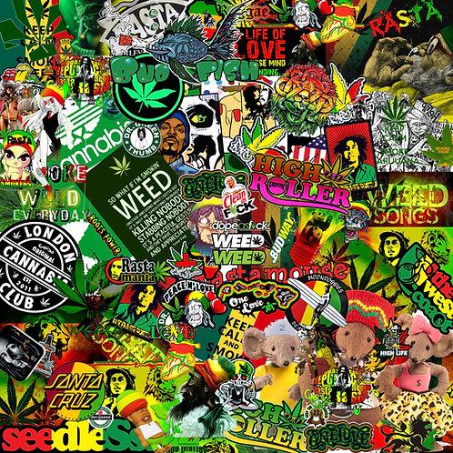 Rasta Weed Sticker Bomb