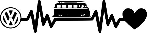 Heartbeat  VW T1 Vinyl Decal Sticker VW funny