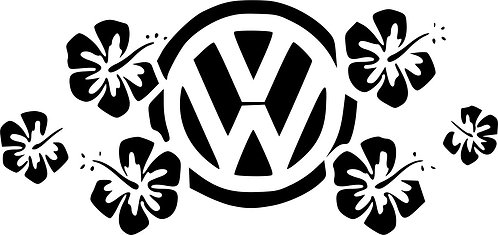 VW HIBISCUS FLOWERS surf car  Vinyl Decal Sticker VW funny stick