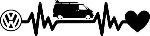 Heartbeat  VW T4 Vinyl Decal Sticker VW funny