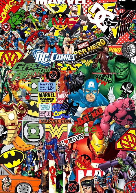 2 x Marvel Dc Sticker Bomb vw